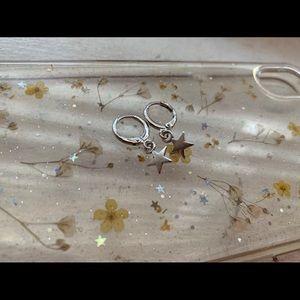 silver star hoop earrings
